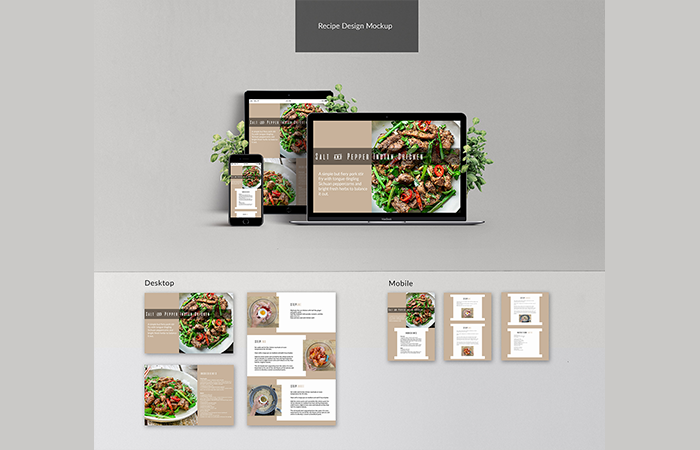 Image of UI UX Recipe Design MockUp for all devices