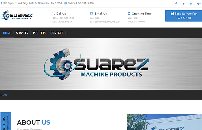 Image of Suarez Machine Products Home Page